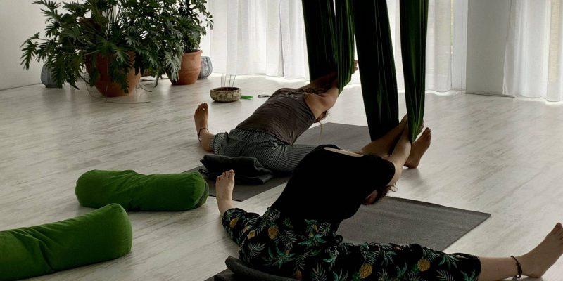aerial restorative yoga met the flower of life